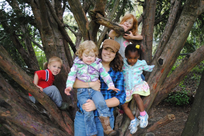 Paige with some of our kids, April 2012