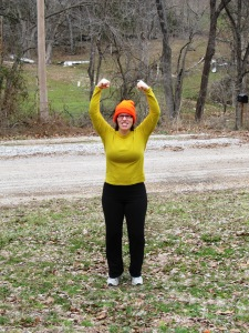 Jogging with strep throat and doing the Rocky dance, February 2013