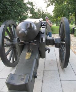 Checking out a cannon in Mammoth Springs, Arkansas with my husband