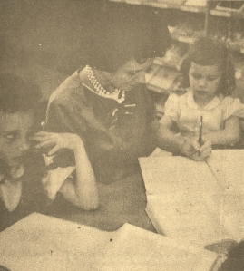 Teresa with her sister, Liz Burns Glenn, and her mother, Madeline Norris Burns, at the Arkansas (now Lyon) College library
